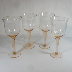 Pink Depression Glass Goblets